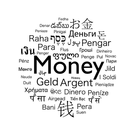 money word translated to the languages of the world Stock Photo