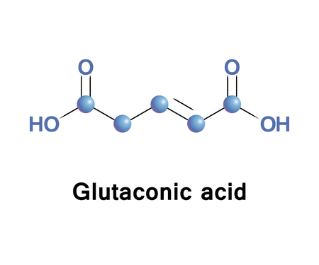 Glutaconic acid is an organic compound. This dicarboxylic acid exists as a colorless solid and is related to the saturated chemical glutaric acid. Esters and salts of it are called glutaconates. Stock Photo