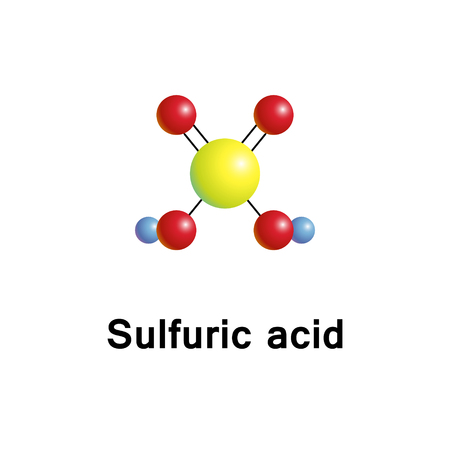 Sulfuric acid, sulphuric acid, is a highly corrosive strong mineral acid with the molecular formula H2SO4, vector 3d molecular structure