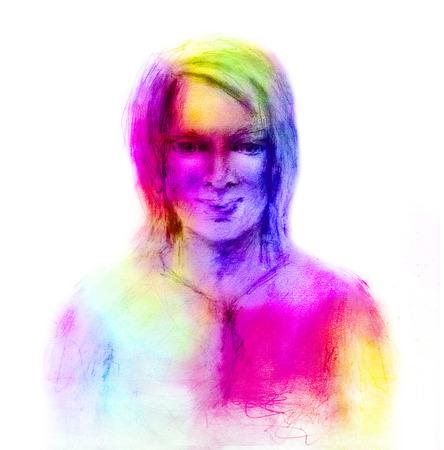 woman rainbow colors. hand drawn female portrait for fashion