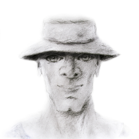 man in a hat, hand drawn face portrait illustration