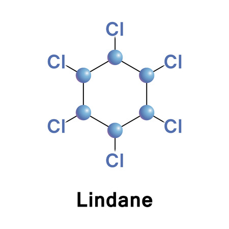 Lindane, gammaxene, is an organochlorine chemical variant of hexachlorocyclohexane that has been used both as an agricultural insecticide and as a pharmaceutical treatment for lice and scabies Stock Photo