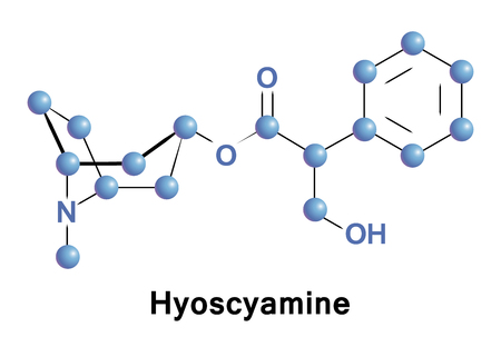 found it: Hyoscyamine is a tropane alkaloid. It is a secondary metabolite found in certain plants of the family Solanaceae Stock Photo