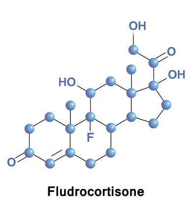 Fludrocortisone is a corticosteroid used to treat adrenogenital syndrome, postural hypotension, and adrenal insufficiency. Imagens