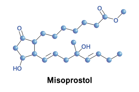 Misoprostol is a medication used to start labor, cause an abortion, prevent and treat stomach ulcers, and treat postpartum bleeding due to poor contraction of the uterus Stock Photo