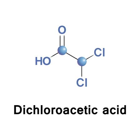 L'acido dicloroacetico, a volte chiamato acido bichloroacetico, è il composto chimico con formula CHCl2COOH Archivio Fotografico - 82019174