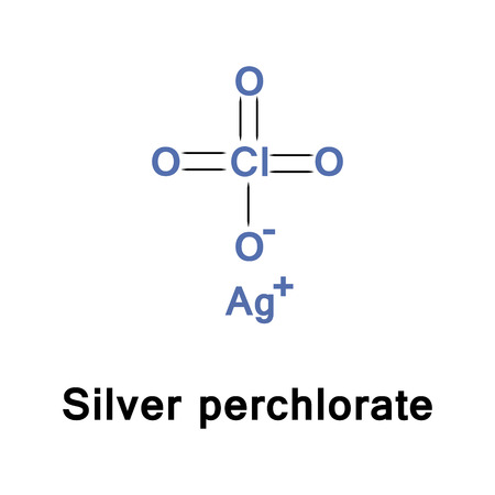 argentum: Silver perchlorate is the chemical compound with the formula AgClO4. It forms a monohydrate and is a useful source of the Ag ion Stock Photo