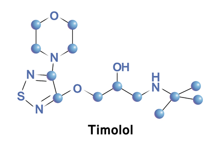 Timolol ist ein Medikament, das entweder durch den Mund oder als Augentropfen verwendet wird. Es wird zur Behandlung von erhöhtem Druck im Auge wie bei Augenhypertonie und Glaukom angewendet. Standard-Bild