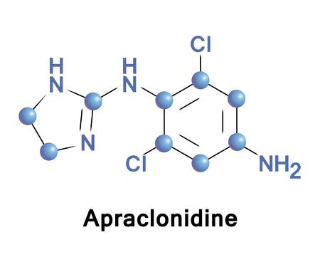 L'apraclonidine est un sympathomimétique utilisé dans le traitement du glaucome. C'est un agoniste des récepteurs adrénergiques a2 et un faible agoniste des récepteurs adrenergiques a1 Banque d'images - 84169909