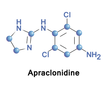 Apraclonidine is a sympathomimetic used in glaucoma therapy. It is an a2 adrenergic receptor agonist and a weak a1 adrenergic receptor agonist