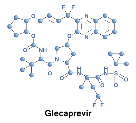 Glecaprevir is a hepatitis C virus nonstructural protein 3 4A protease inhibitor. It is developed as a treatment of chronic hepatitis C infection in co-formulation with pibrentasvir