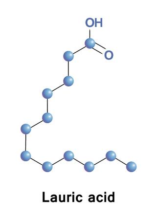 ラウリン酸は、炭素 12 原子鎖の飽和脂肪酸です。塩及びエステルのそれは laurates として知られています。  イラスト・ベクター素材
