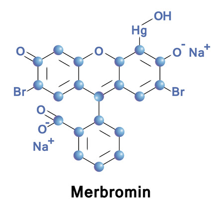 Merbromin is a topical antiseptic used for minor cuts and scrapes. Merbromin is an organomercuric disodium salt compound and a fluorescein. 向量圖像
