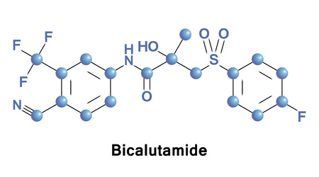 Bicalutamide is an anti-androgen medication that is primarily used to treat prostate cancer. 向量圖像