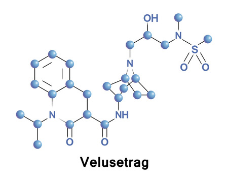 Velusetrag is an experimental drug candidate for the treatment of gastric neuromuscular disorders including gastroparesis. Illustration