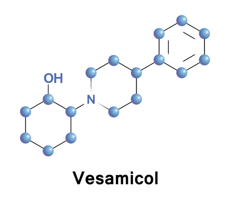 Vesamicol is an experimental drug, acting presynaptically by inhibiting acetylcholine uptake into synaptic vesicles and reducing its release.