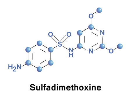 Sulfadimethoxine is a long-lasting sulfonamide antimicrobial medication used in veterinary medicine