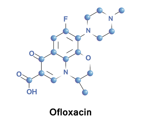 Ofloxacin is an antibiotic useful for the treatment of bacterial infections. This includes pneumonia, cellulitis, urinary tract infections, prostatitis, plague and certain types of infectious diarrhea Stock Photo