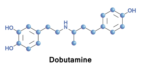 Dobutamine is a sympathomimetic drug used in the treatment of heart failure and cardiogenic shock. Its primary mechanism is direct stimulation of beta1 receptors of the sympathetic nervous system. Stock Photo