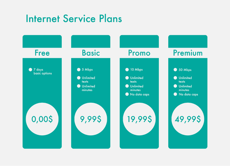 Price list of hosting plans web banners, ui for mobile apps