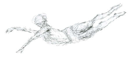 Ballet dancer in the air. human sketch Banco de Imagens