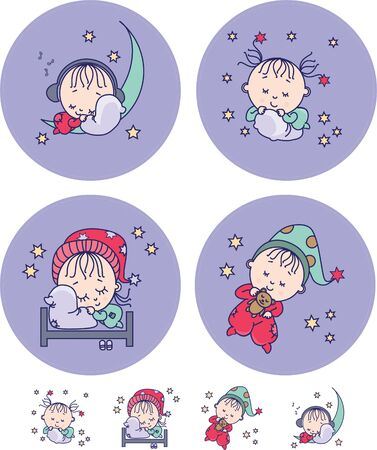 4 different color drawings of sleeping children on a purple background and stars