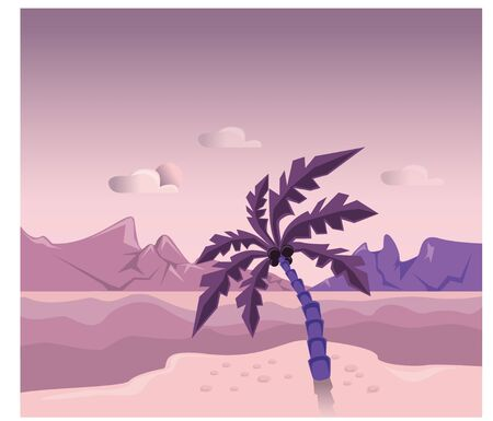 Palm tree on the island against a background of pink sky, mountains and sea
