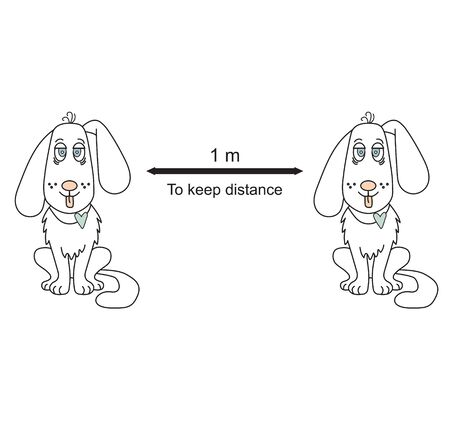 Hold the remote sign with white dogs. Coronovirus epidemiological protection. Warning and protection. Keep a distance of 1 meter. Vector illustration