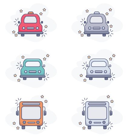 Vector drawings of transport- auto, taxi, bus. Color and black and white. Pictograms, icons