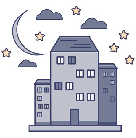 High-rise buildings against the sky and moon. Vector illustration