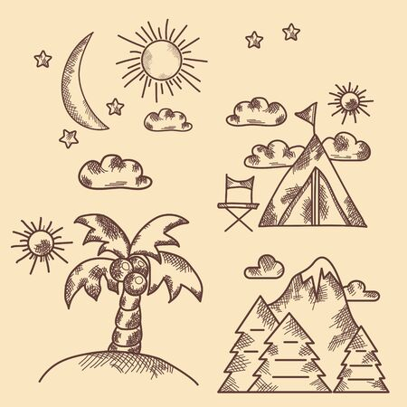 Hand drawn icon set. Vintage. Types of recreation, nature, palm tree, mountain. Collection of vector pictures.