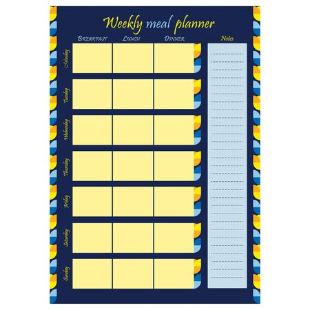 Weekly food planner template. Blank page with ornament on a blue background. Food diary, sheet of paper, place for notes. Stationery for menu planning and grocery. Realistic vector illustration.