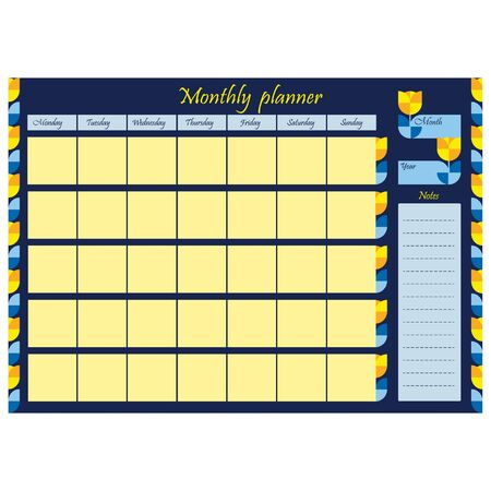 Daily affairs template for the month. Blank page with design, ornament and flowers on a blue background. A sheet of paper with a place for notes. Business organizer. vector illustration. 向量圖像
