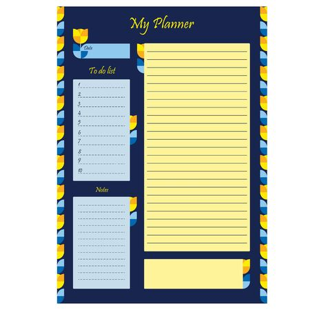 Business planner template with place for notes. Blank page with design, ornament and flowers on a blue background. Business organizer. Stationery for planning. Realistic vector illustration. Illustration