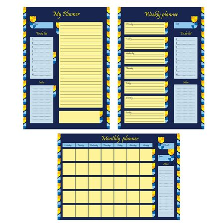 Set of business planner templates for month, week and personal. Blank page with design, ornament and flowers on a blue background. A sheet of paper with a place for notes. Business organizer. Stationery for planning. Realistic vector illustration.