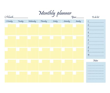 Weekly to-do month template. A sheet of paper with a place for notes. Business organizer. Stationery for planning. Realistic vector illustration.