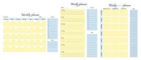 Planners package: weekly, monthly, weekly meal plan, to-do list, goals, note template. Business organizer. Stationery for planning. Vector illustration.