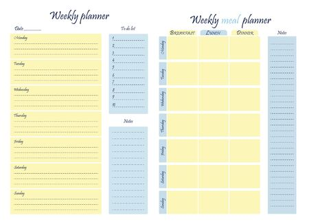 Set - weekly food and business planner template. Food diary, sheet of paper, place for notes. Stationery for menu planning and grocery. Vector illustration.