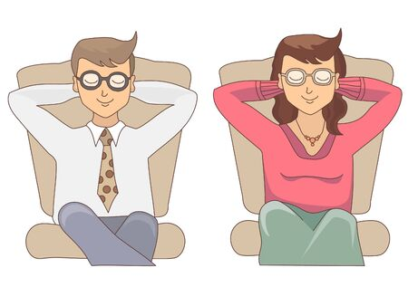 Vector illustration of two people. A man and a woman are sitting in a chair and dreaming. They closed their eyes and relax. Have a rest