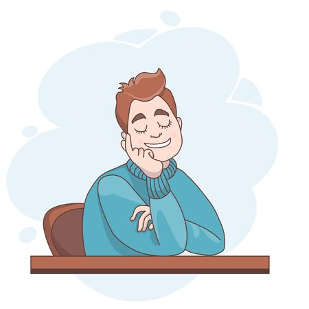 Vector illustration. A man sitting at a table is resting, closed his eyes and dreams