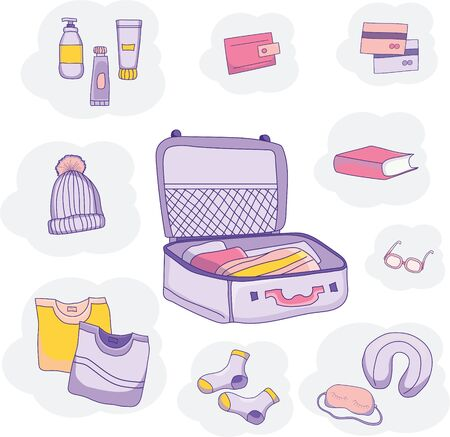 Set of vector pictures of luggage, clothes on a blue background. We pack in a suitcase for travel on vacation. Bon voyage. Vector Illustratie