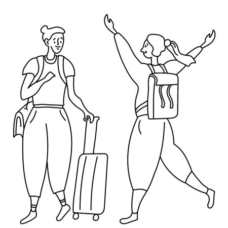 Line drawing karakul two joyful girls tourists. One with a bag on his shoulder and a suitcase on wheels. The second with a backpack. Doodle set.