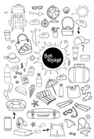 Bon voyage. Doodle set of vector linear travel pictures. Travel concept on a white background - things and clothes, luggage, luggage - everything for a vacation on the sea and the beach. All scribbles are isolated.