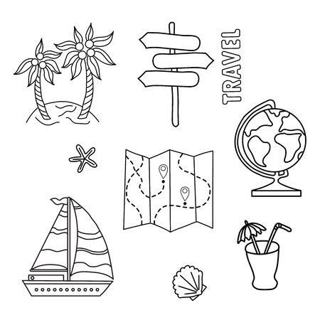 Illustration for lifestyle design. Travel set of doodles. Outline symbol collection. Globe, cockleshell, navigation, cocktail
