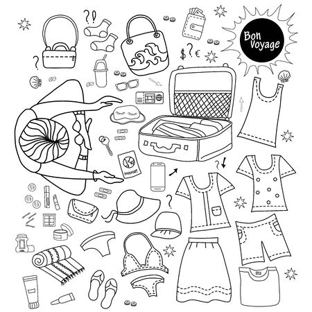 girl tourist. Doodle set of travel vector design. luggage for summer. Collects things, documents, cosmetics and clothes in a suitcase. All elements are isolated