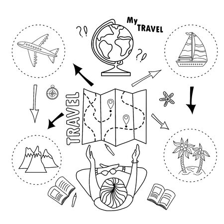 Tourist girl. Chooses and plans a trip. Sea or mountains. Doodle set of tourism and transport. How to ride a plane or a ship. Infographic poster. my travel. Elements are isolated.