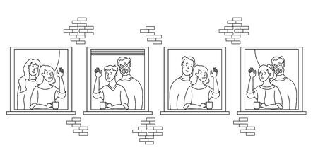 elderly couple looking for a house. windows with people neighbors. elderly and young married couples, non-traditional couple, he and he, she and she, friends. Self-isolation, quarantine. Outline drawing