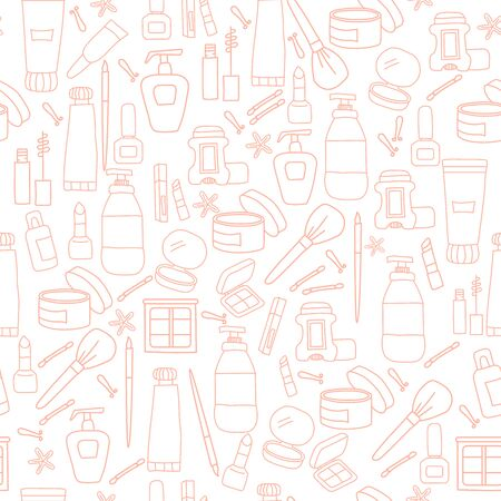 Seamless pattern of beauty and cosmetics icons of pink color. Creams and bottles, tonics. Vector outline illustration. Womens set, packaging, design and decor, print, wallpaper