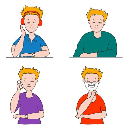 Set of flat vector people with closed eyes. A young man in different clothes, poses and gestures in bright clothes. Sits in headphones, stands with the phone. In a medical mask for virus protection