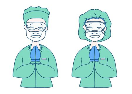 Surgeon and doctor in medical green overalls - mask, glasses, hat, gloves. They crossed their arms, closed their eyes and prayed. Medicine and saving people from the virus and pandemic. Vector drawing